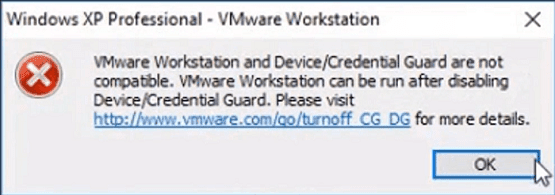 حل مشكلة VMware Workstation and Device Credential Guard are not compatible