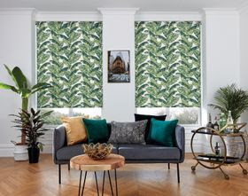 Tropical blinds with sofa with green and ochre cushions