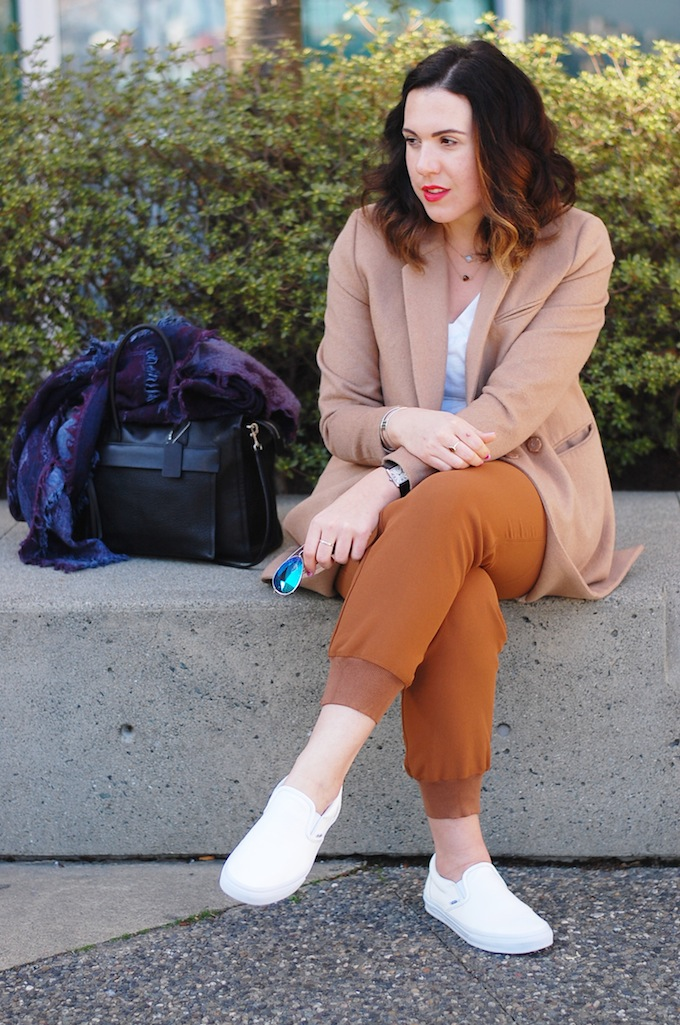 Vancouver fashion blogger camel outfit how to wear joggers