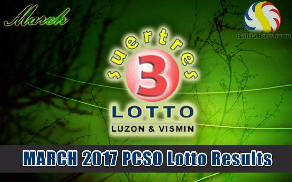 Results: March 2017 Suertres 3-Digit PCSO Lotto