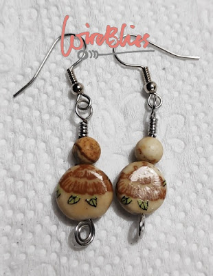 Wire wrapped earrings with ceramic beads