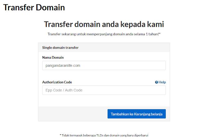 proses mendaftar / mentransfer domain baru