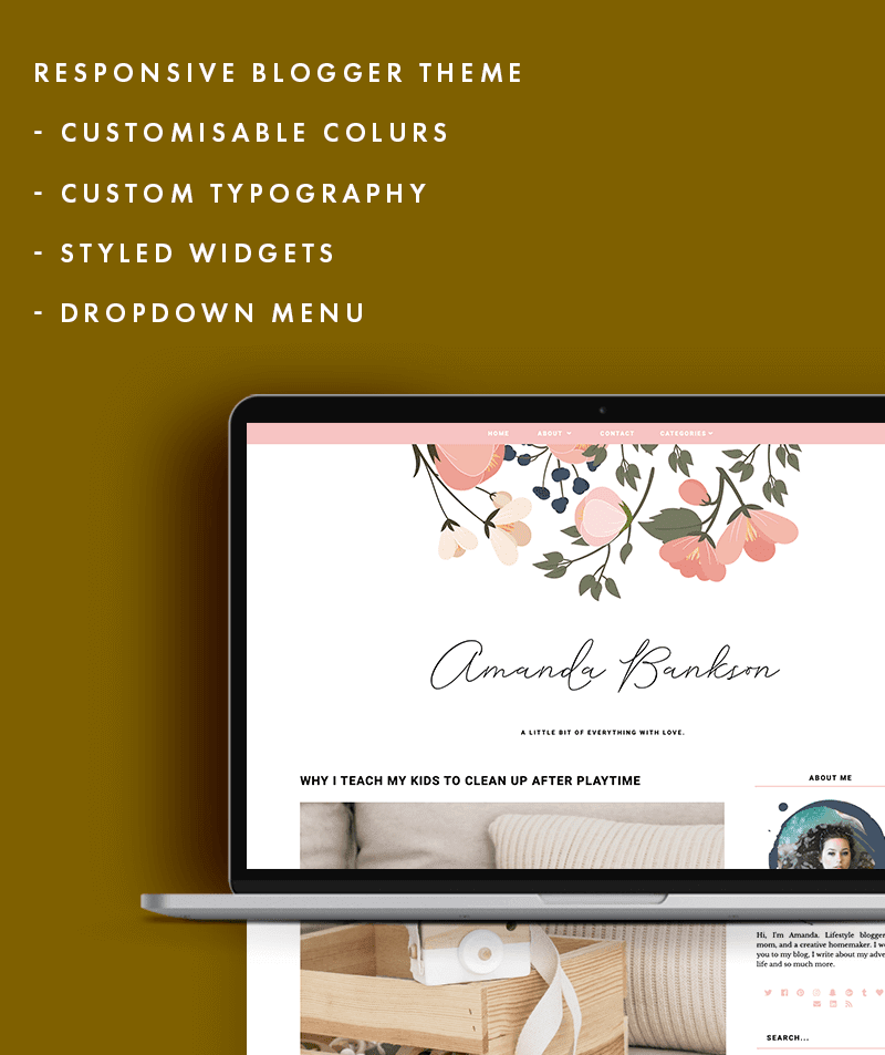 premade Amanda Bankson theme styled features list
