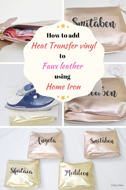 How to add heat transfer vinyl to faux leather using home iron & parchment paper