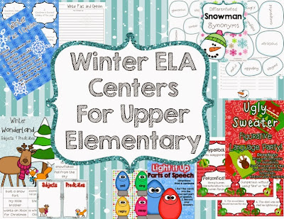 *Winter Fact & Opinion task cards with recording sheet & key *Winter Wonderland Subjects & Predicates with recording sheet & key *Light It Up Parts of Speech with recording sheet and key *Differentiated Snowman Synonyms with recording sheet & key *Ugly Sweater Figurative Language Party with recording sheet & key