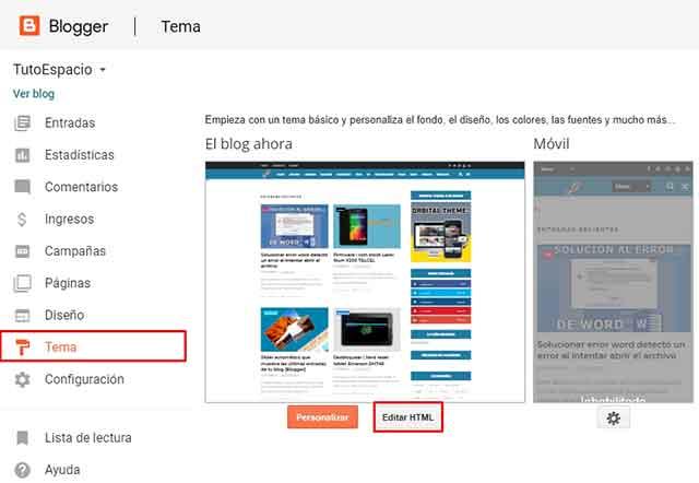 editar html de blogger