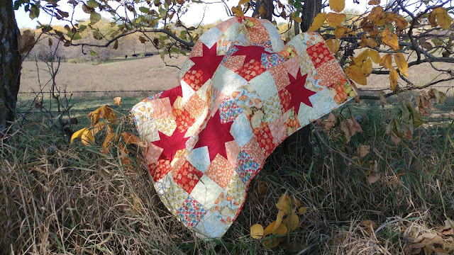 Autumn star quilt with Pumpkin Spice fabrics