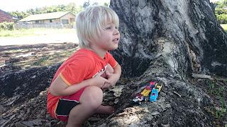 Kind spielt auf einem Baumstamm mit Autos
