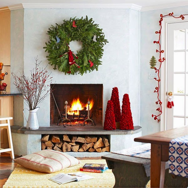 chimenea decorada navidad