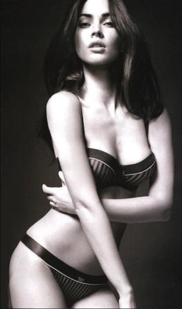 Megan Fox Damn Hot in Lacy Lingerie on Sofa