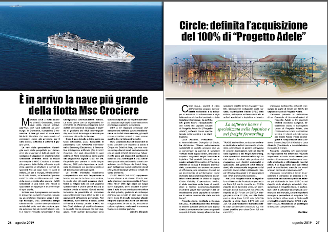 AGOSTO 2019 PAG. 26 - È in arrivo la nave piú grande della flotta Msc Crociere