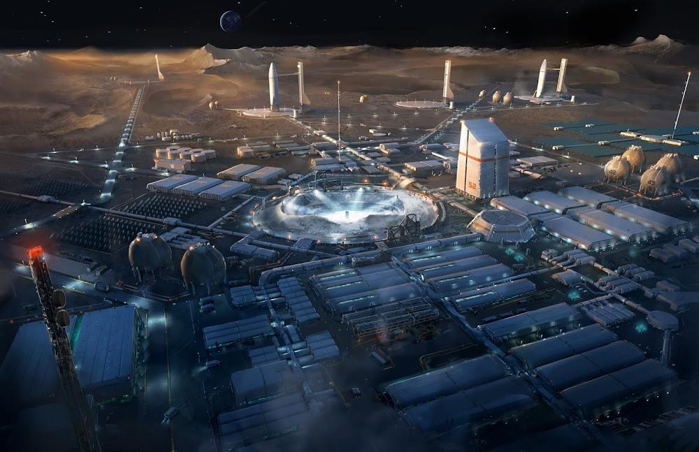 Lunar mining colony by Jort van Welbergen