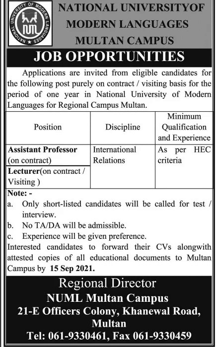 Latest Jobs in National University of Modern Languages NUML 2021
