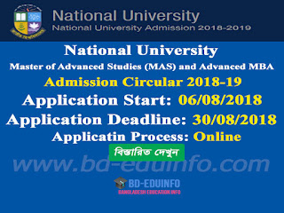 Master of Advanced Studies (MAS) Nutrition and Food Science admission Circular 2018-19