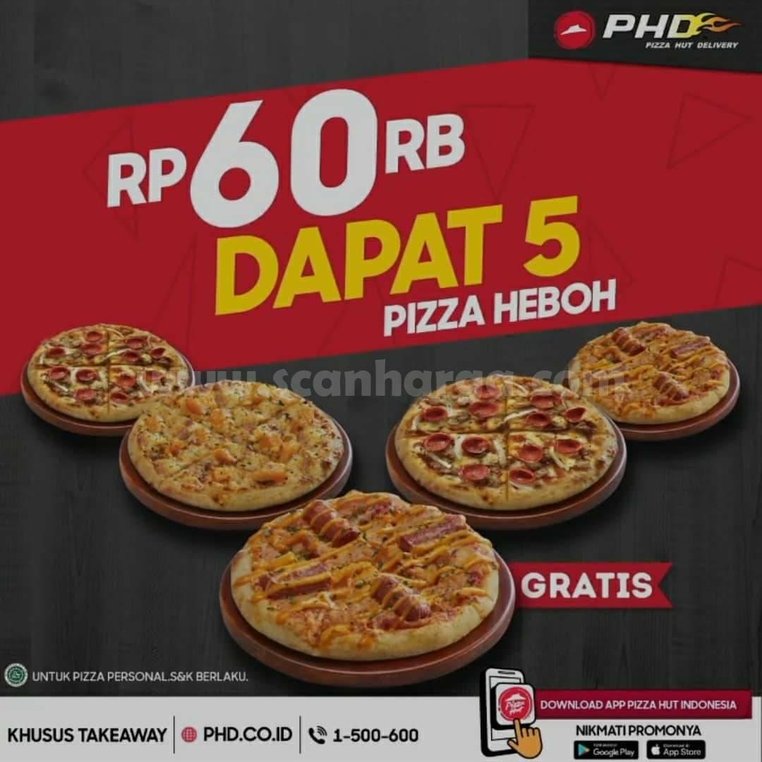 PHD Promo 5 HEBOH Personal Pizza!! Harga hanya Rp 60.000