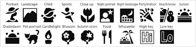 Beberapa jenis Scene mode popular dan fungsinya