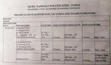 nuhu bamalli poly resumption date