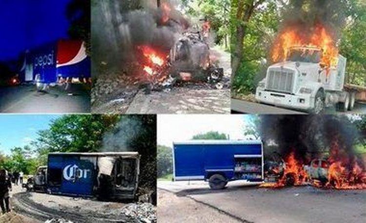 Sicarios encañonan, saquean e incendian camiones que transportaban mercancías en Chiapas