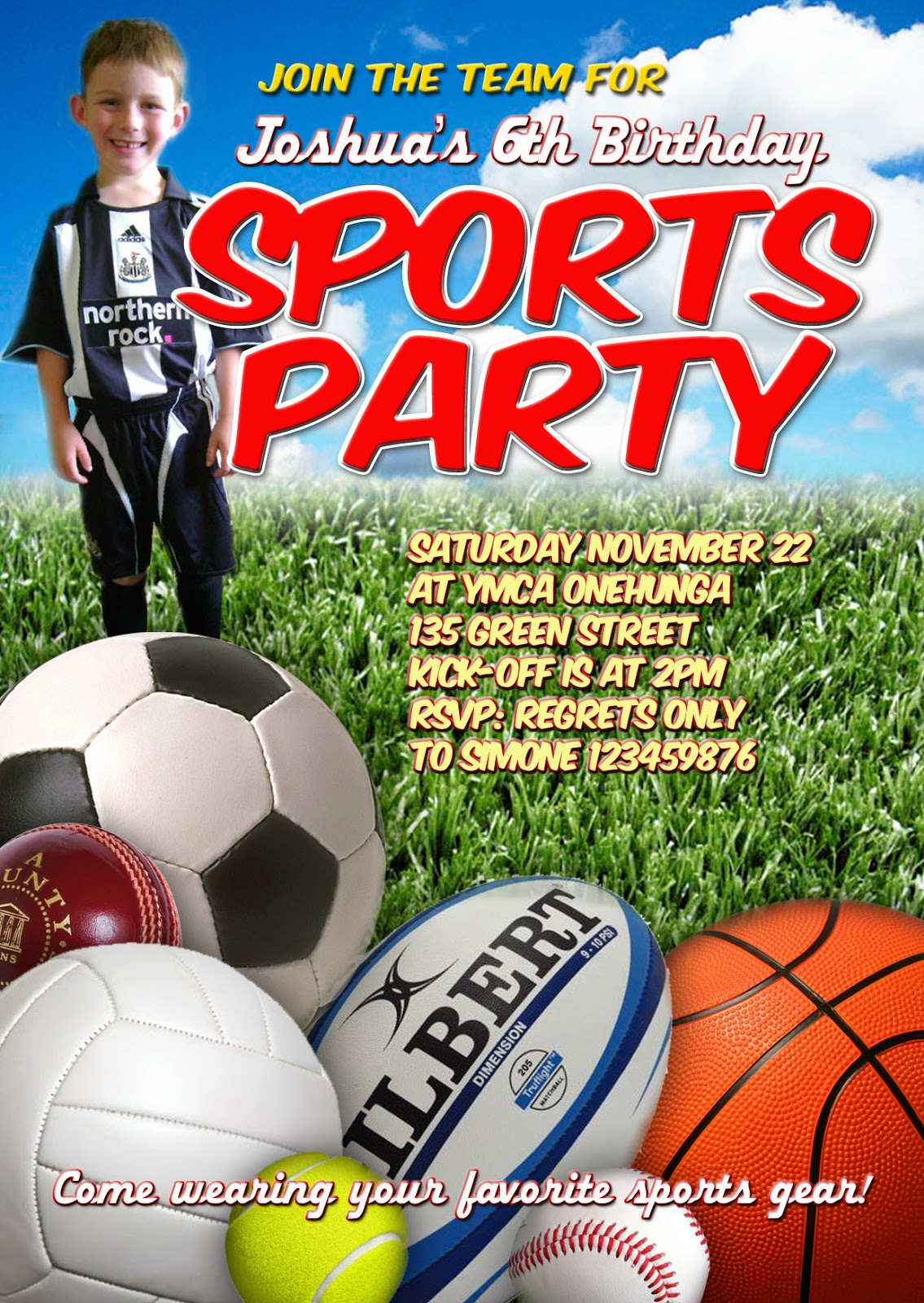 FREE Kids Party Invitations: Sports Party Invitation