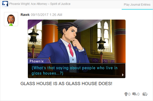 Phoenix Wright Ace Attorney Spirit of Justice glass houses