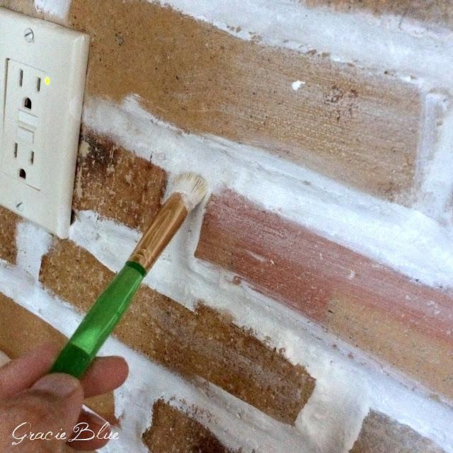 Gracie Blue : DIY Whitewash Brick Backsplash {and