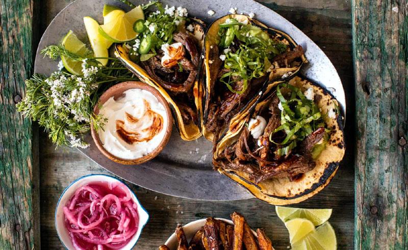 Crockpot Carne Asada Tacos with Cilantro Lime Garlic Sauce