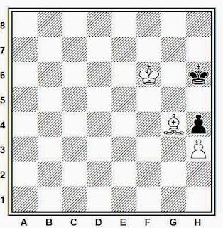 Final de ajedrez de alfil y peón de torre contra peón de torre, blancas juegan y ganan