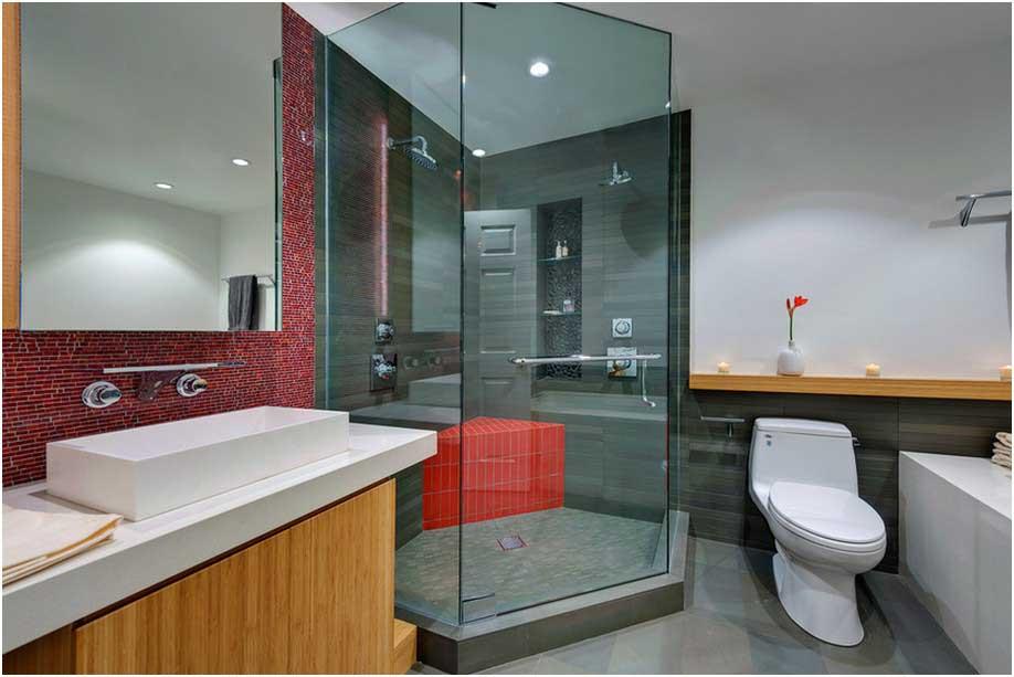 Bild Badezimmer Ideen Rot Moderne Design Duschkabine Aus