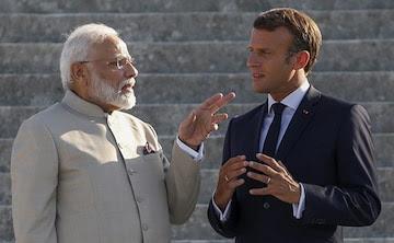 Indian pm modi and France president Emmanuel macron