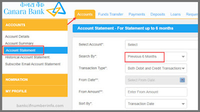 Net Banking to get Canara Bank Mini Statement