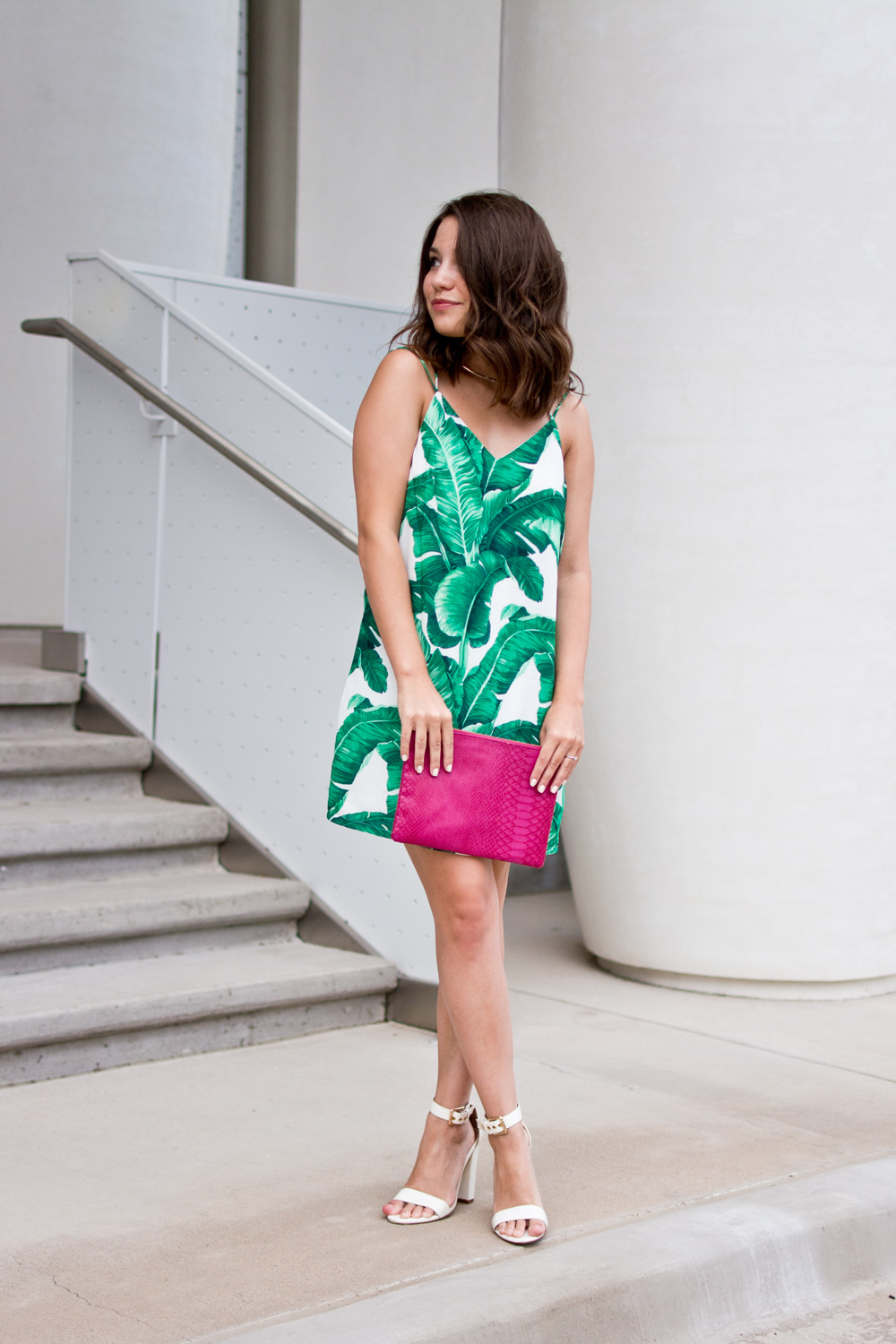 Shein Palm Print dress hot pink clutch vacation outfit