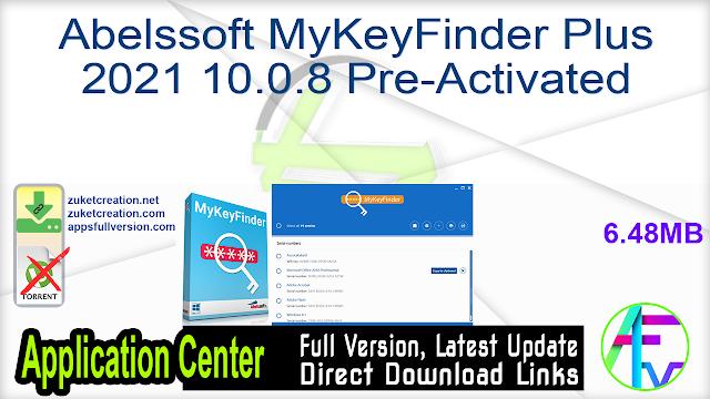 Abelssoft MyKeyFinder Plus 2021 10.0.8 Pre-Activated