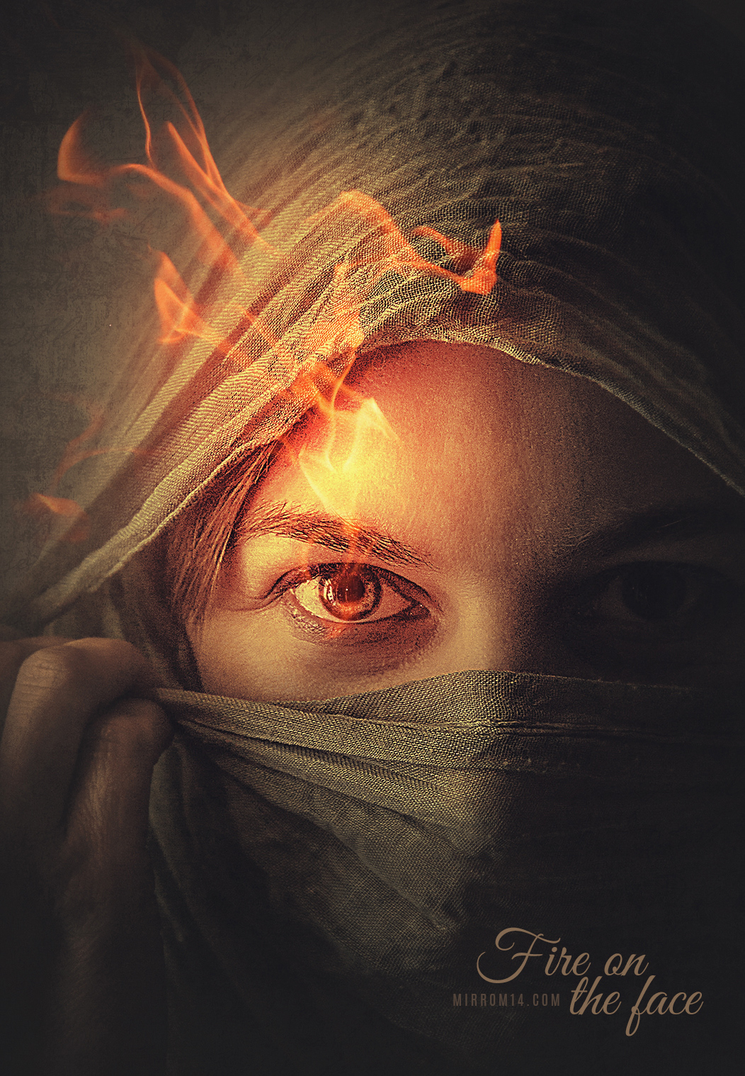 Create a Fire on The Face Portrait Photo Effect Photoshop Tutorial