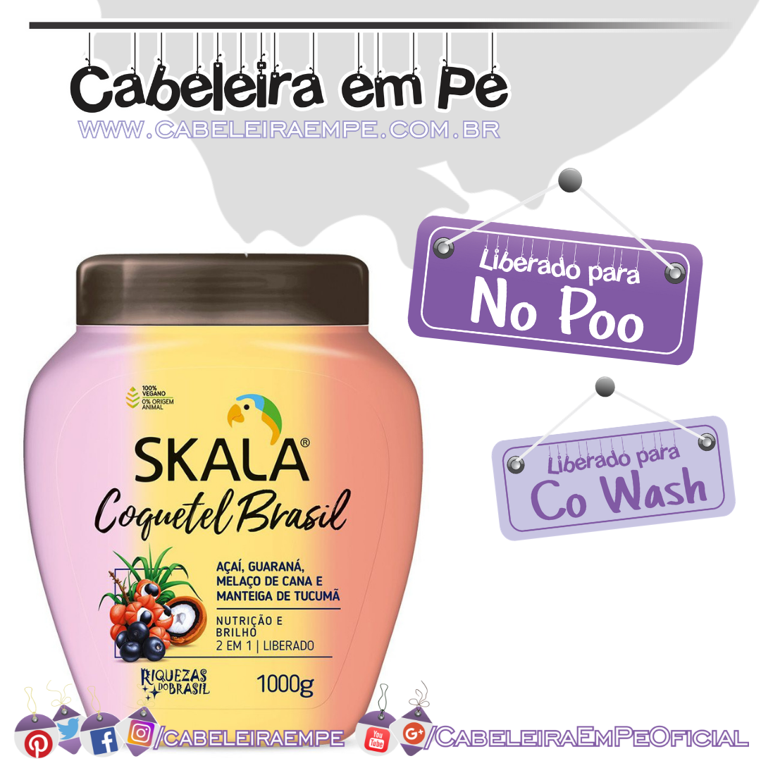 Creme de tratamento Coquetel Brasil - Skala Brasil (No Poo e Co Wash)