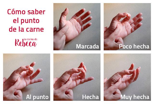 Cómo saber el punto de la carne con la mano