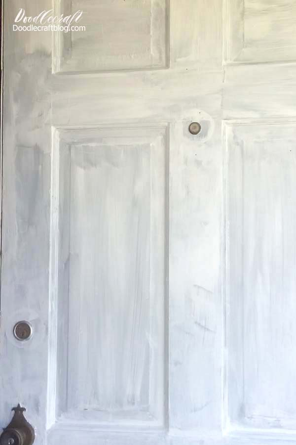 Primed front door ready to paint