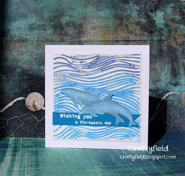 Waves embossing folder and dolphins stamps