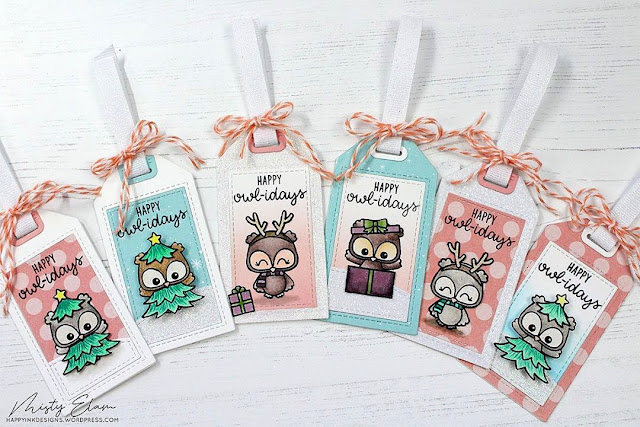 Sunny Studio Stamps: Happy Owlidays Customer Christmas Themed Gift Tags by Misty Elam
