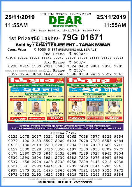 Lottery Sambad 25-11-2019 Sikkim State Lottery Result 11.55 AM-sambadlottery.org