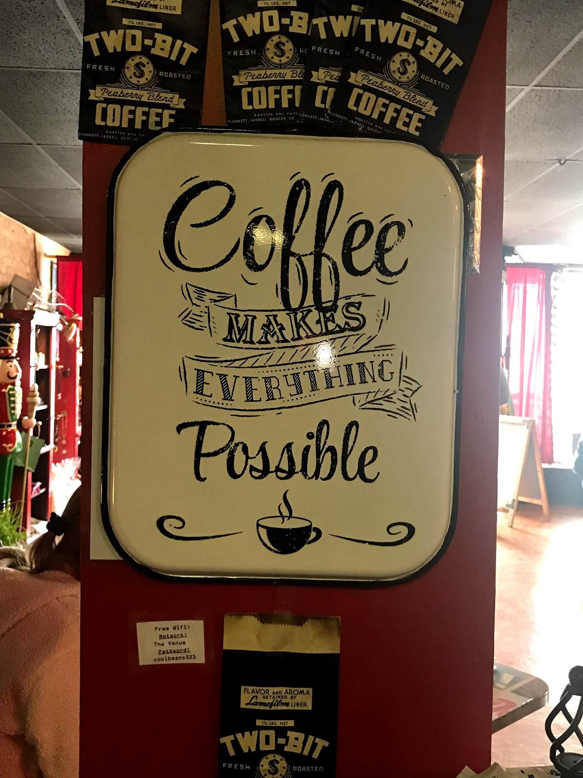 Image: Coffee Sign Where woman sits and share her goals with hopes of inspiring others not to forget their goals for the year.