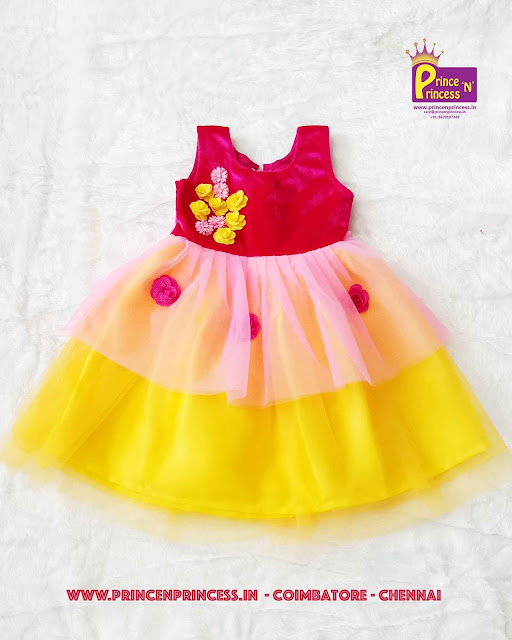 Kids Pink Yellow Party Frock