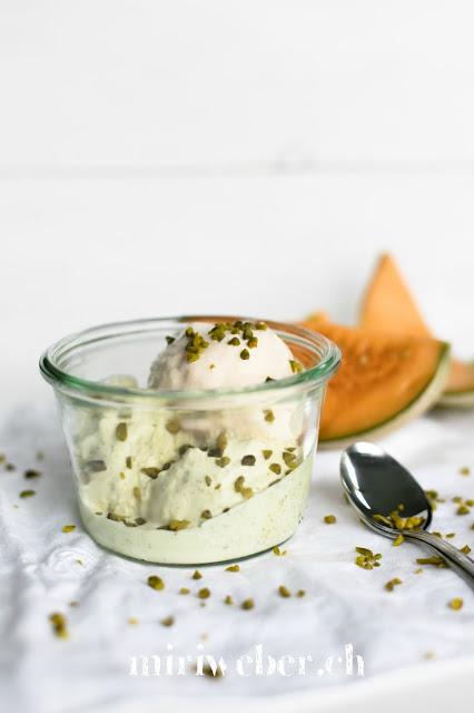 Pistazien Eiscreme, Früchteglace Rezept, Melonen Eis, Melonen Ice Cream,  gesundes Eis, gesunde Glace, Foodblog Schweiz
