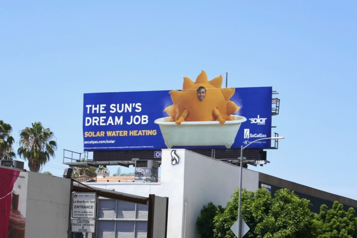 Solar Water Heating sun bathtub billboard
