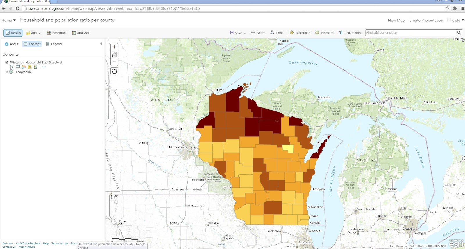 this is a dynamic web map of the data from the previous map that i created this map shows individually the information about wisconsin but also is