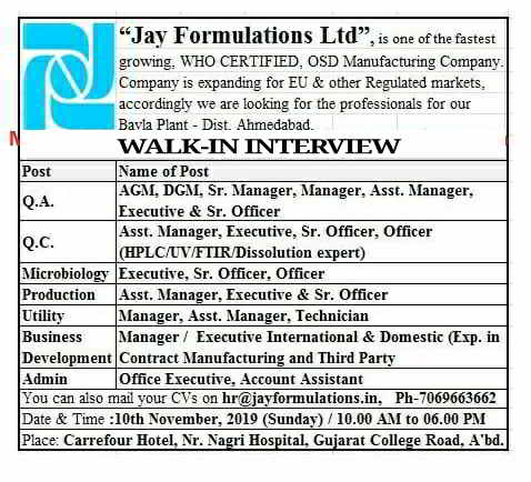 Jay Formulations - Walk-in interview for QA / QC / Microbiology / Production / Utility / Business Development / Admin Department on 10th November, 2019