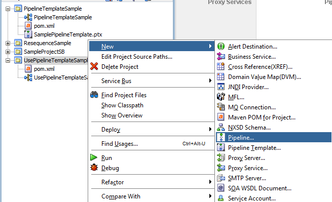 OSB 12c Use Pipeline Template Create Project From Template