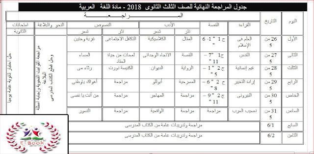 جدول مذاكرة اللغة العربية للثانوية العامة الاسبوع الاخير  2018