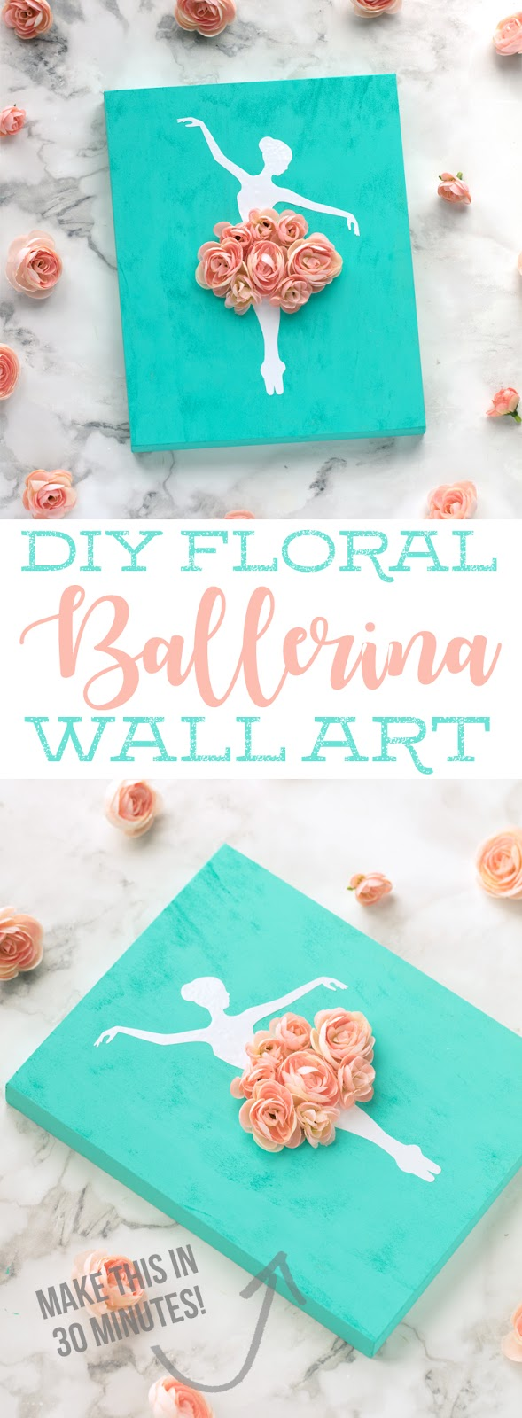 This DIY Ballerina Wall Art is a simple and inexpensive craft you can make to decorate a little girls room. DIY sign ideas. Ballerina Craft Ideas