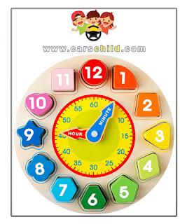 ساعة اطفال خشبية لتعلم الألوان والوقت