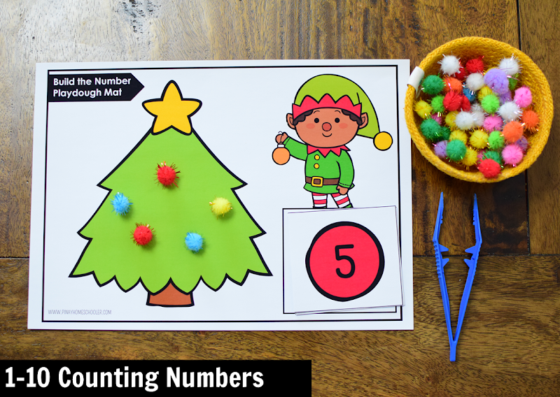 Kindergarten Math Center for December: 1-10 Counting Numbers
